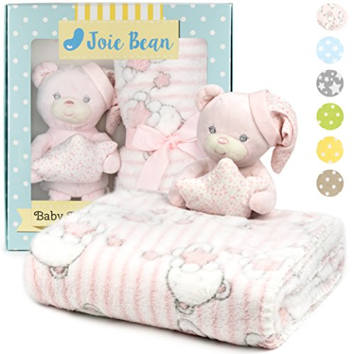 Premium Baby Blanket Set for Girl with Stuffed Animal Plush Toy | Soft Fleece Security Throw Blanket for Baby, Newborn, and Toddler | Nursery Bedding and Baby Shower Gift (Pink - Teddy Bear)