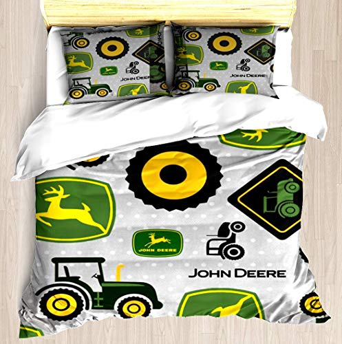 VAMIX Farm Tractor - Green Duvet Cover Set Unique Printed Exclusive Designed Pattern Comforter Bedding Cover Pillow Shams 3 Piece Bed Duvet Cover Queen/Full