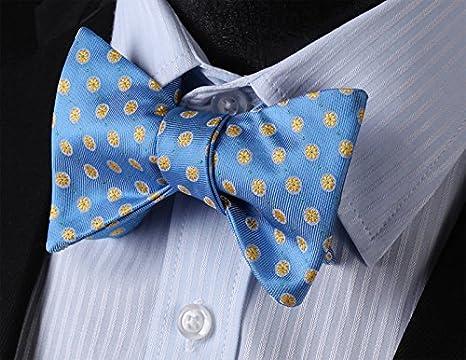HISDERN Panuelo Floral para Hombre Paisley Jacquard Wedding Party Self Bow Tie Pocket Square Set