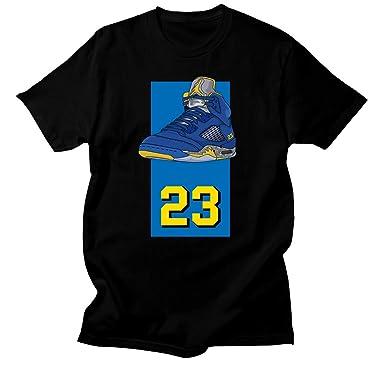 19725ec735c369 Custom T Shirt Matching Style of Air Jordan 5 Laney JD 5 1-16-2 at Amazon  Men s Clothing store