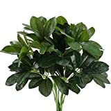 artificial evergreen bushes - GTIDEA Artificial Shrubs Plants Fake Silk Schefflera Bushes Real Touch Faux Greenery Leaf Arrangements Indoor Outdoor Garden Office Home Table Centerpieces Wall Hanging Décor 2pcs
