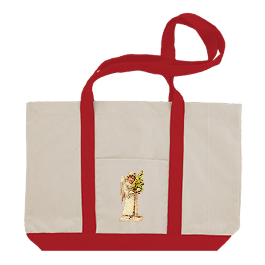 Canvas Boat Tote Bag Angel White Coat Holds Christmas Tree #7 By Style In Print | Red