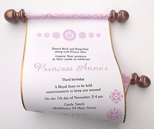 Amazon Com Princess Birthday Invitation Scrolls With Flower Blooms