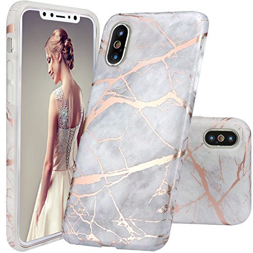 DOUJIAZ iPhone Xs Case,iPhone X Case, Gray Rose Gold Marble Design Clear Bumper TPU Soft Case Rubber Silicone Skin Cover Case for iPhone X 2017 /XS 2018 5.8 inch