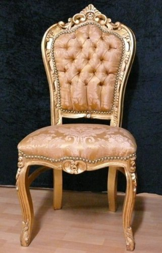 LouisXV Barock Stuhl Blatt gold Blatt gold braun brokatbezug AlCh0690GoGoBq antik Stil Massivholz. Replizierte Antiquitäten Buche Antikmessing.