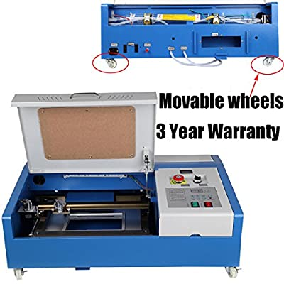 Iglobalbuy On- Wheel Movable 40W CO2 USB Laser Engraving Cutting Engraver Cutter w/LED Strip Light