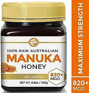 RAW MANUKA HONEY MGO 820+ (NPA 20+) 8.8oz (250g) Medicinal Strength - Highest Certified Rating - BPA Free Jar - Cold Extraction - Independently Verified
