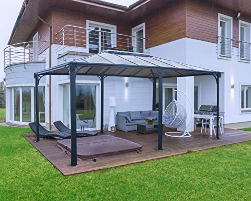 Palram HG9171 Martinique Hard Top Gazebo, 12 x 16 , Gray Bronze