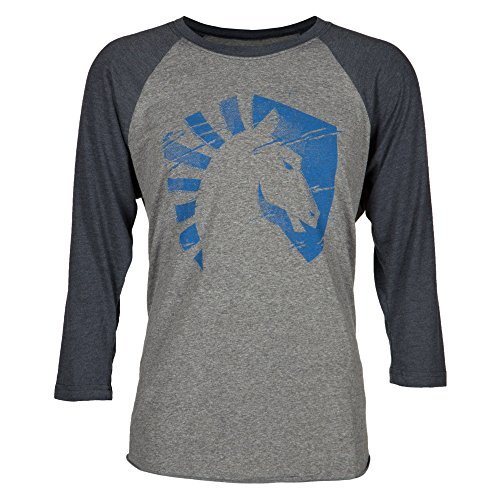 Team Liquid Men's Horse Logo Scratch Raglan Shirt (Vintage Navy/Premium Heather, X-Large)