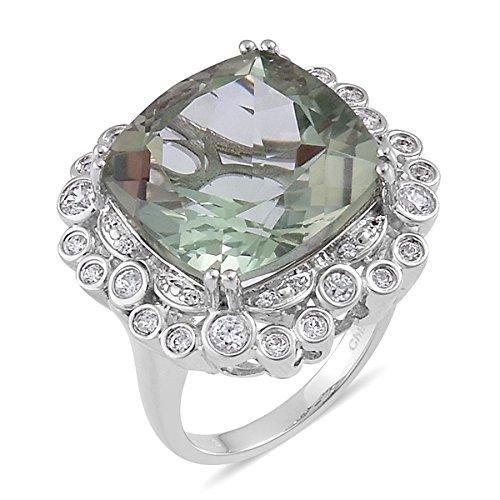 Green Amethyst Zircon Platinum Plated Silver Ring 14.903 cttw. Size 10 Green Amethyst Platinum Ring