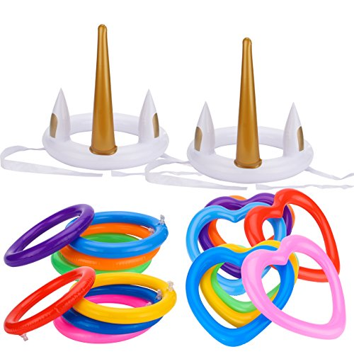 Grobro7 18Pcs Inflatable Unicorn Ring Toss Game Round Heart Ring Pool Garden Backyard Outdoor Bridal Shower Booth Party Favor Supplies by Grobro7