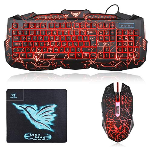MFTEK KM400 Colour Changing Wired Gaming Keyboard Mouse and Mousepad Combo for pc, Laptops, Desktops