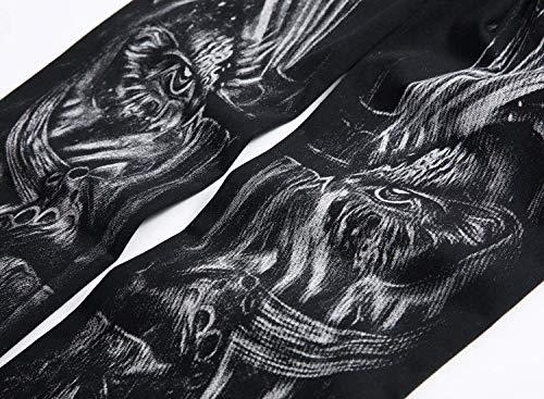 Casual Fit Moda Design Stampa Attraenti Gamba Con Abbigliamento Uomo Modello Stil4 Mens R Diretta Nero Unico 2018 Dritta Slim Jeans Nuovo aPnwfET