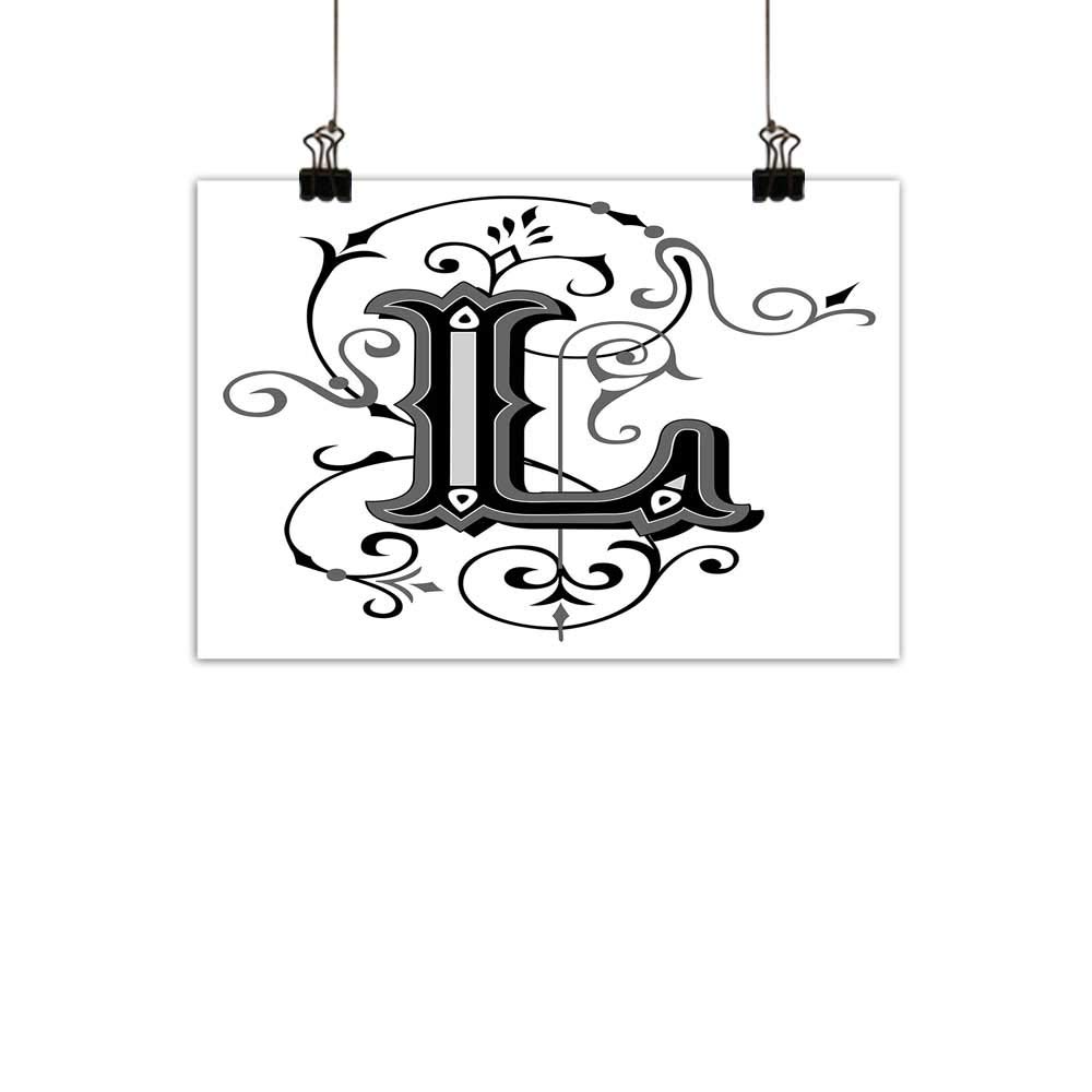 duommhome Letter L Simulation Oil paintingOrnated Capital L Calligraphy Initials Alphabet Family Name Medieval Culture Decorative Painted Sofa Background wallBlack Grey White 31''x24''
