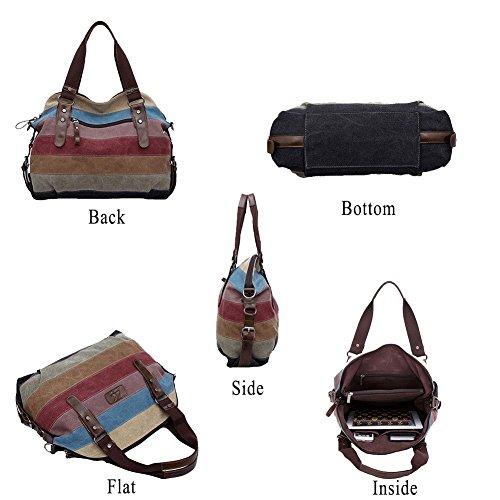 Shoulder Handbags Cross Women's Top Multi Bag Retro Girl Body 1 Handle Multicoloured XMLiZhiGu Tote Canvas Shopper Color qgXAXnSUw