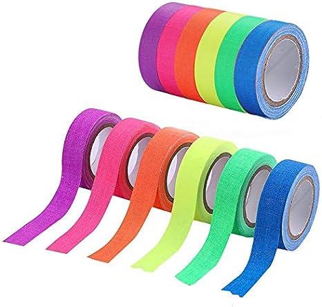 Cinta reactiva UV negra, cinta adhesiva fluorescente, cinta de gaffer de borrado en seco, cinta de neón que brilla en la oscuridad para suministros de fiesta(6 rollos): Amazon.es: Hogar