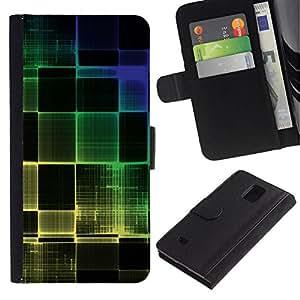 All Phone Most Case / Oferta Especial Cáscara Funda de cuero Monedero Cubierta de proteccion Caso / Wallet Case for Samsung Galaxy Note 4 IV // Colorful Squared