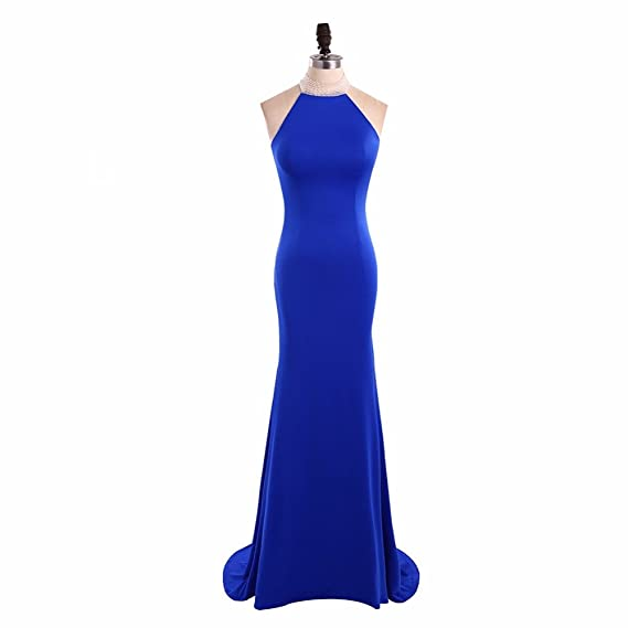 YuNuo Shinning Halter Royal Blue Evening Dress Long Sexy Mermaid Evening Dresses Sheer Formal Dress Girls Dinner at Amazon Womens Clothing store: