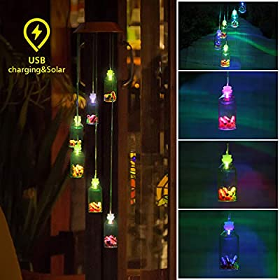 PATHONOR Solar Wind Chimes, Color-Changing LED Solar Mobile Wind Chime, LED Waterproof Wind Chime Wishing Bottles Wind Chimes with USB Charging for Home/Party/Night Garden Decor.