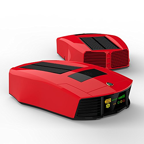 Lamborghini Style Air Purifier for car Smart Air Ionizer and Air Freshener with Solar Charger and 2000mAh battery (Red)
