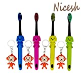 Nicesh Manual Kid's Ultra Soft Bristle Toothbrush with Monkey Key Buckle, Pack of 4, F