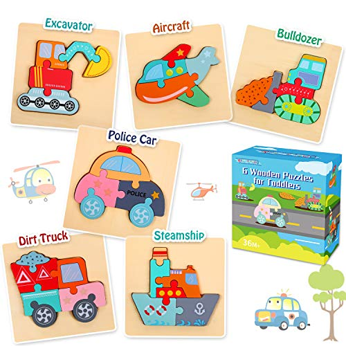 6 Pack Wooden Jigsaw Puzzles, Educational Toys for Toddler Ages 1 2 3 4 5 Year Old, Preschool Learning Toys Gift for Kids