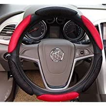 Sunroadway® 2015 Latest Universal fit Racing Steering Wheel Cover with Soft Grips For BMW Audi Toyota honda Nissan Dodge Chrysler jeep Hyundai Land Rover & More (Black & Red)