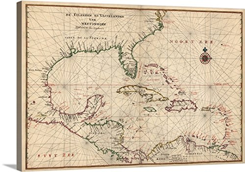 Canvas On Demand Premium Thick-Wrap Canvas Wall Art Print entitled Antique Map of the Caribbean, ca. 1639 - El Central Ca