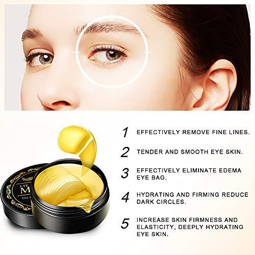 51YB9ae%2BHeL - Under Eye Patches, 24K Gold Eye Mask, Eye Gel Pads Collagen Eye Treatment Masks Reduces Wrinkles and Puffiness Lighten Dark Circles Moisturizing and Anti Aging 60PCS