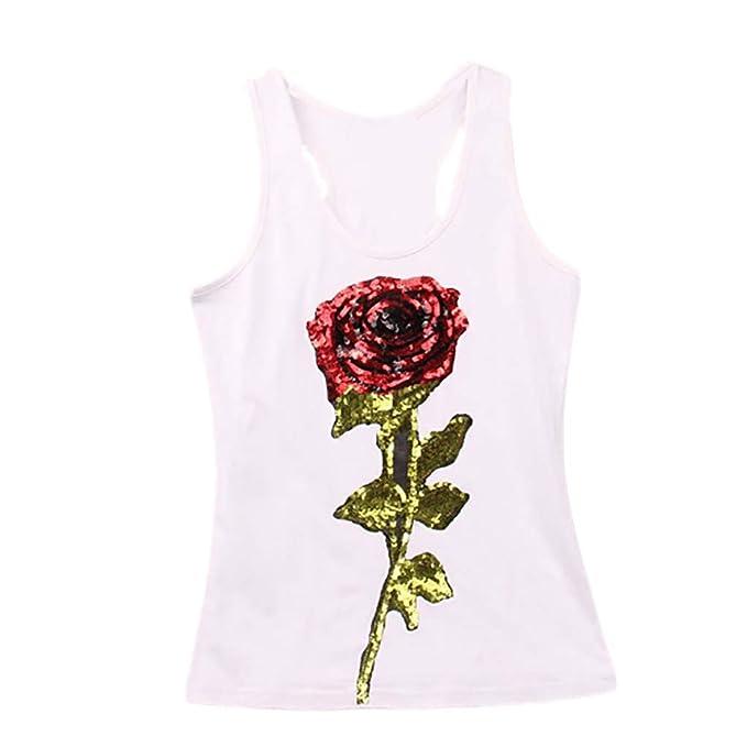 739b734eed09 ABsolute Chaleco Camisolas Mujer Verano Estampado de Mujer Camiseta sin  Mangas con Lentejuelas para Mujer Jersey