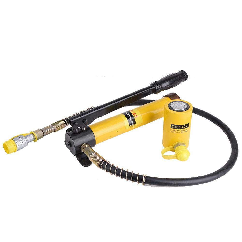 10T Hydraulic Jack, 10T Short Jack + Manual Hydraulic Pump Set Steel Lifting Handle Tool for Car Repairing by Vikye