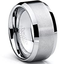 Metal Masters Co.® 10MM Mens Brushed Tungsten Carbide Wedding Band Ring, Comfort Fit Sizes 7 to 15
