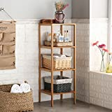 Finnhomy Natural Bamboo Shelf Wood 4 Tier Bathroom Shelf Unit Tower Bookshelf Multifunctional Storage Rack Display Shelving Unit Free Standing Rack for Plants
