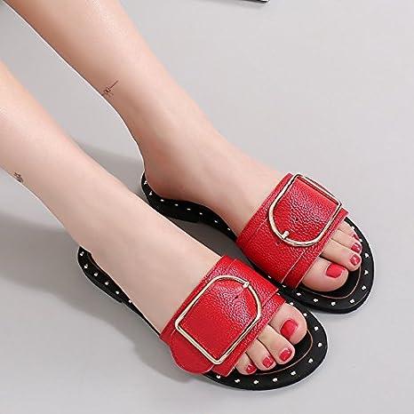SAEJJ-Zapatillas de Imitación de Imitación de cuero mujeres moda desgaste del verano zapatillas todas partido arrastra una palabraDe gulesTreinta y seis: ...