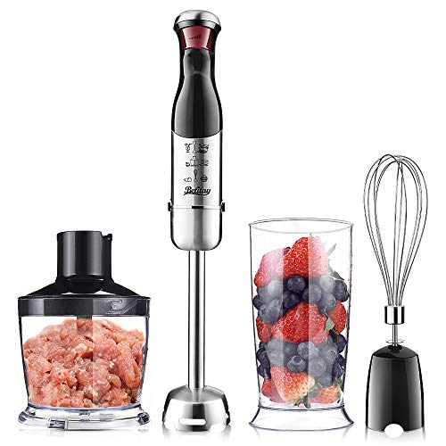 Batitay Hand Blender Immersion Electric 4-in-1 Food Processor,300W Stepless Speeds for Smoothies,Vegetable,Meat and Baby Food with Safety Lock,Include Chopper Bowl,Mixing Beaker and Egg Whisk