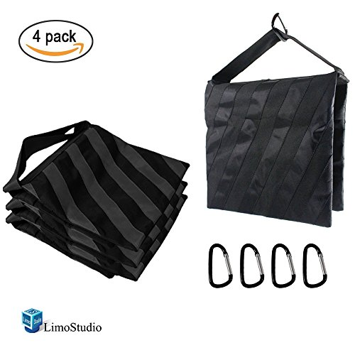 LimoStudio 4 Pieces Saddlebag New Sand Bag Heavy Duty Weight Bag, Black Color, Holds 18lbs for Photo Studio Light Stand & Boom Stand, AGG1845 by LimoStudio
