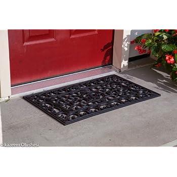 Amazon Com Kempf Rubber Scroll Doormat Rectangular Home