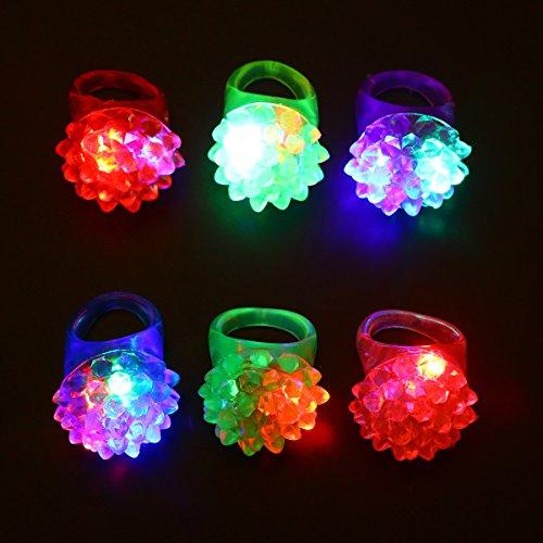 TOYMYTOY LED Strawberry Finger Lights Jelly Rings Light Up Toys for Kids 24pcs (Colors Random)