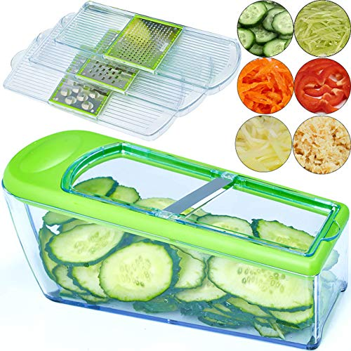 Mandoline Slicer - Vegetable Slicer Dicer Cutter Grater and Shredder - Kitchen Adjustable Heavy Duty Food Slicer Veggie Slicer with 4 Blades, Slicers for Fruits and Vegetables (Manual Food Slicer)