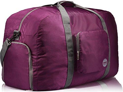 wandf-foldable-travel-duffel-bag-luggage-sports-gym-water-resistant-nylon-26-plum