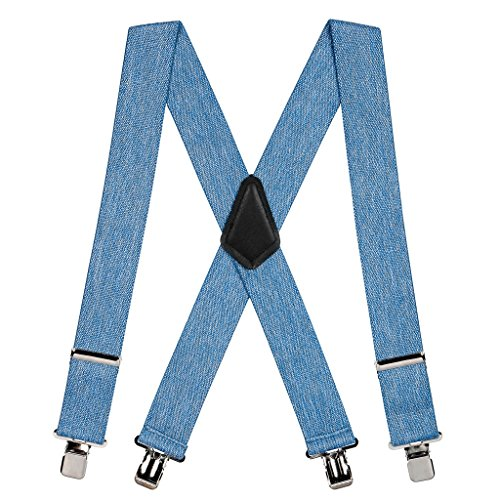 - SuspenderStore Men's Denim Suspenders - 2 Inch Wide Clip