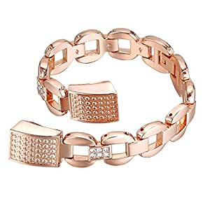 For Fitbit Alta HR and Alta Bands, bayite Metal Bands Rose Gold with Rhinestone Style E