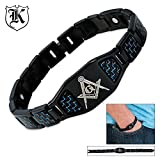 Stainless Steel Masonic Blue Carbon Fiber Bracelet