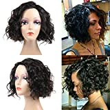 Cheap Urbeauty Hair Human Hair Wig for Black Women 130% Density Unprocessed Body Wave Wavy Wig Brazilian Human Hair Wigs For Black Women Short Human Hair Wigs 12inch Natural Color (Wig-12inch-Curly)