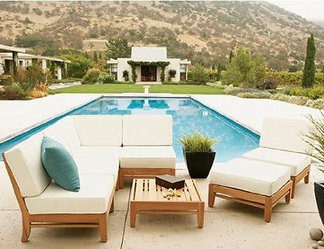 Lounge sofa outdoor teak  Amazon.com : New Luxurious 7 Piece Teak Sofa / Sectional Set - 4 ...