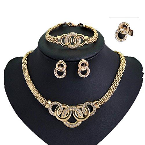 Necklace, Hatop Women Handcuffs Necklace Earring Bracelet Ring Set Metal