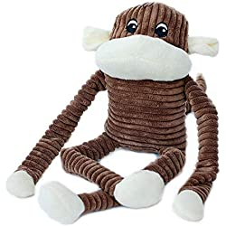 ZippyPaws - Spencer The Crinkle Monkey Dog Toy, Squeaker and Crinkle Plush Toy - Brown, X-Large