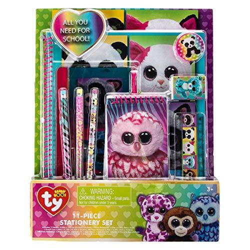 TY Beanie Boos 11 Piece Stationary Set Folders Pencils -