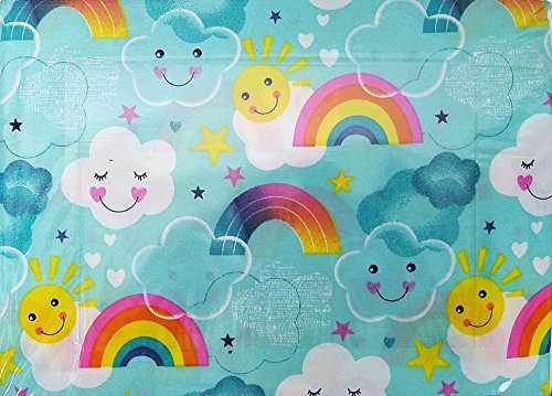 Sleep Zone Rainbows, Smiling Clouds, Stars, Hearts, Sun on Pastel Blue ~ 4 PC FULL Sheet ()