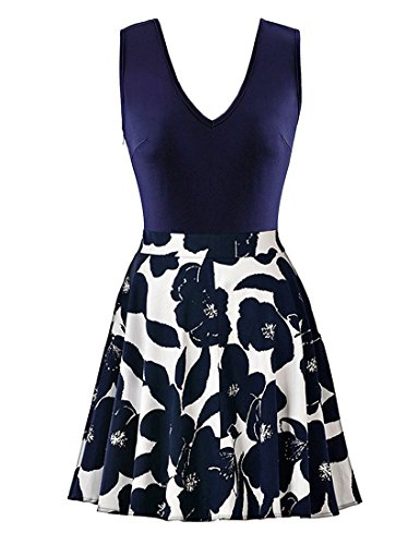 Young Lady Dress - Momius Womens Casual Flare Floral Contrast Sleeveless Party Mini Dress